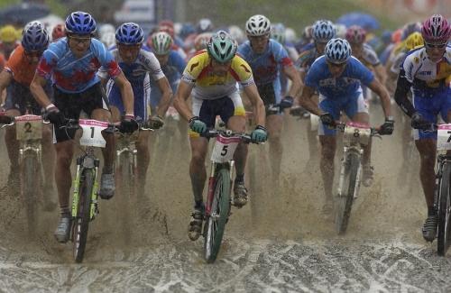 Salida de la carrera del Mundial de Kaprun, Austria. Septiembre de 2002