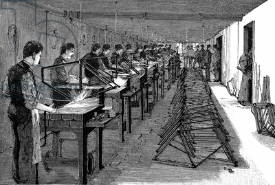 Welding bicycle frames in an American factory (not named). Wood engraving Leipzig 1900.